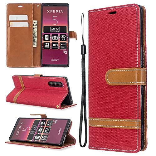 Snow Color Sony Xperia 5 Hülle, Premium Leder Tasche Flip Wallet Case [Standfunktion] [Kartenfächern] PU-Leder Schutzhülle Brieftasche Handyhülle für Sony Xperia 5 - COBFE030928 Rot