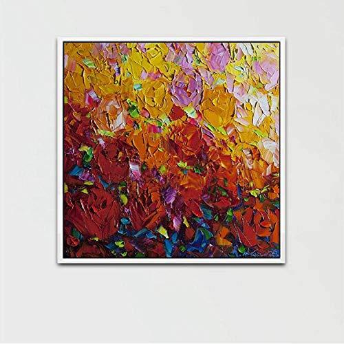 Olieverfschilderij, handbeschilderd, op canvas, Botanische bloem, zakmes, mooie roze, rood, geel, paars, pop-art moderne grote grootte, handbeschilderd, met foto-startfoto 150×150 cm/60×60 inch