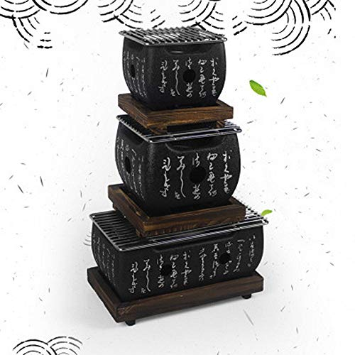 HHY BBQ-Tischgrill, traditioneller japanischer Hibachi-Tischgrill, tragbarer Grillofen Holzkohleofen mit Antihaft-Backblech 12 * 12 * 9cm (Small)