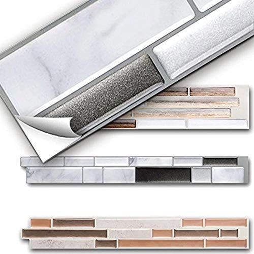 Vinilo decorativo para azulejos grueso y resistente al desgaste,Papel decorativo adhesivo de 10 hojas pegatinas de mosaico de azulejos de baño y cocina 3d