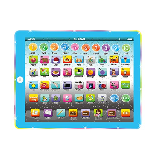 Wenbeier Learning Pad/Toddler Learning Tablet with 8 Toddler Learning Letter/Word/Song for Educational Preschool Toy Gifts for Boys & Girls 3-8 Years Old (Blue)