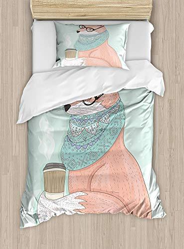 695 Juego de ropa de cama con diseño de zorro hipster con gafas y bufanda, ilustración hippie, 2 piezas, juego de cama con 1 funda de almohada, tamaño individual, color coral menta