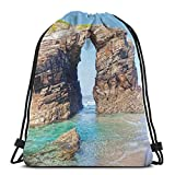 Drawstring Tote Bag Gym Bags Storage Backpack, Old Rocky Stone Arches On Spanish Seacoast Summer Light Nature Scenery De Mediterranean,Very Strong Premium Quality Gym Bag for Adults & Children