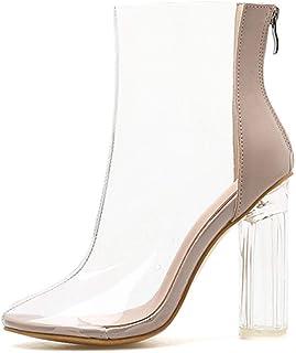 MAMU Las Mujeres Los Cargadores del Tobillo del Gladiador Zapatos De Tacones Altos Talón del Partido Transparente Botines ...
