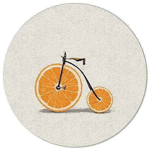 Meet 1998 Round Area Rugs Bicycle Orange Wheel Non-Slip Home Decor Cartoon Indoor Children Playroom Kitchen Bedroom Living Floor Mats 4ft(48in)