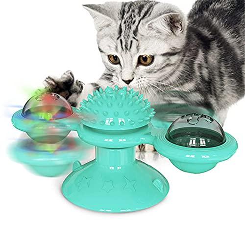 AOTEMAN Pet Interaktive Windmühle Spielzeug Katze Reiben Haar Gerät mit Leuchtend Licht Katzenminze Ball Indoor Drehbarer Drehteller Katze Spielzeug Katze Kauspielzeug (Blau)