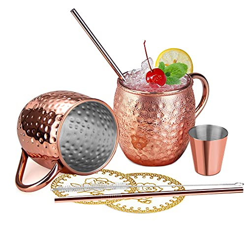 Wellead Moscow Mule Becher, Kupferbecher Moscow Mule Mug 2er Set mit 2 Becher, 2 Untersetzer, 2 Trinkhalme, Jigger in Geschenkbox für Kaltes Getränk, Bier, Gin, Vodka, Cocktails und Wasser Genießen
