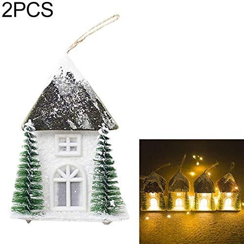 N\A 2 PCS Christmas Originative Warm Light Cabin Decoration Supplement Scene Decoration hefeizanen (Color : Dark Green)