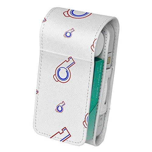 スマコレ IQOS専用 レザーケース 【従来型/新型 2.4PLUS 両対応】 専用 ケース カバー 合皮 カバー 収納 チェック・ボーダー 笛 イラスト 模様 008830