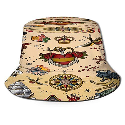 Sombrero de Pescador Unisex Tatuajes Calavera Sirena Barco Cuchillo Sea Bird Horsecurtai Plegable De Sol/UV Gorra Protección para Playa Viaje Senderismo Camping