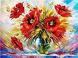Cártamo de Acuario (16x20 Pulgadas Sin Marco) Pintar por números para Adultos y niños Lienzos para Pintar por número con Pinceles y Colores Brillantes DIY Pintura al óleo Kit Regalo