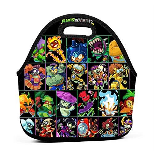 MaoMaoYongHui Pla-nts vs. Zo-mbies bolsa de almuerzo reutilizable personalizada bolsa de mano bolsa para niños cremallera para bolso de escuela