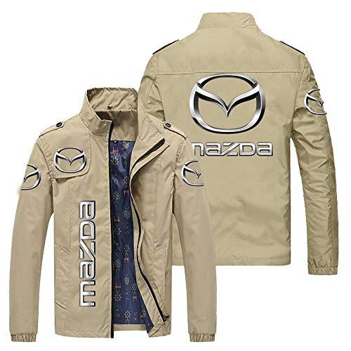 Outwear Chaqueta para Hombre - Mazda 3D Prin CHACKETS Stand Collar Casos Casual Adolescente Chaquetas A Prueba De Viento Ciclismo Jersey E-3X-Large