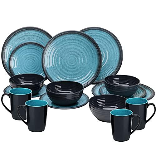 Melamin Geschirr Geschirrset 4 Personen Steingut Optik Campinggeschirr Tafelservice 16 teilig blau-schwarz - Tafelgeschirr Camping Outdoor