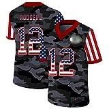 Grēen Báy Rodgers Sportswear # 12 Jersey de Football américain 2020 Neues d'été, Pcokers Fans T-Shirts de Rugby pour Hommes Vêtements Jersey V-Col V-Col Sweat-Shirt C-S(170~175CM)