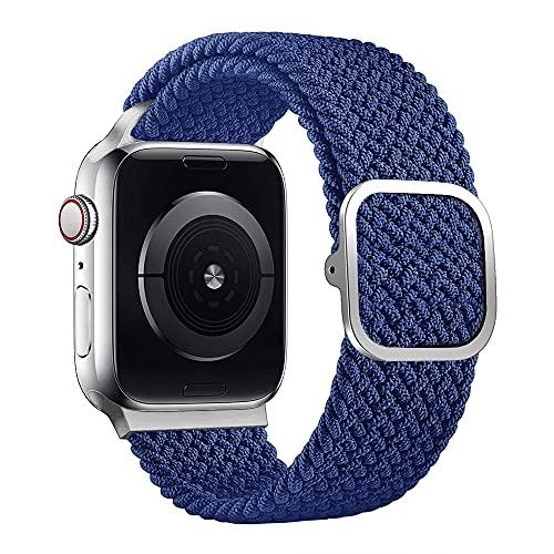 JLLTiioo Pulsera Trenzada Solo Loop de Longitud Ajustable Compatible con Apple Watch 44/42mm 40/38mm iWatch Series 6/5/4/3/2/1/SE (44/42mm (Muñeca 140-210mm), Azul Atlántico)