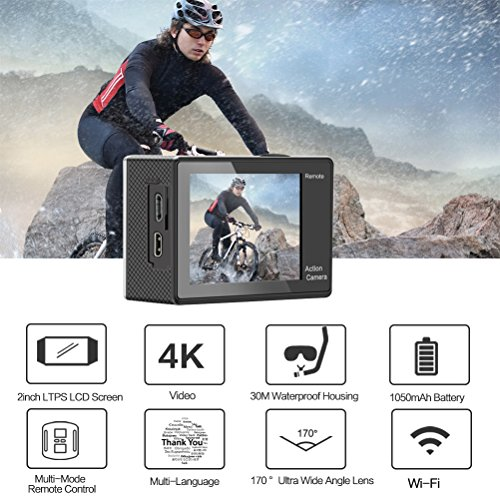 Digital Action Underwater Waterproof Sports Camera Camcorder Cam Wifi 4K HD 30fps 12MP 170 Degree Wide Angle Remote Control and Helmet Accessories Kit-Waterproof 100ft