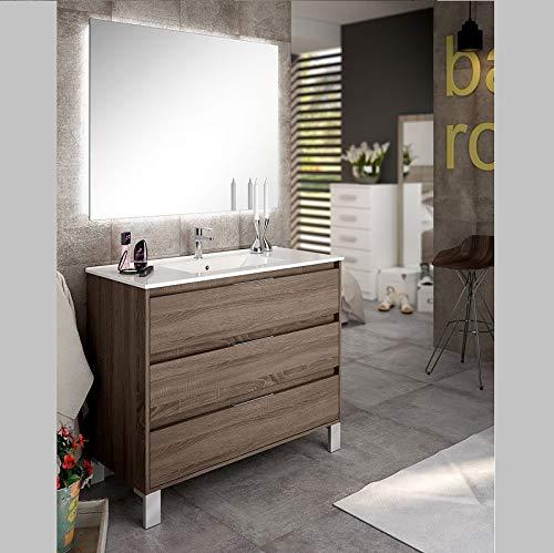 Aquore   Mueble de Baño con Lavabo y Espejo   Mueble Baño Modelo Balton 3 Cajones con Patas   Muebles de Baño   Diferentes Acabados Color   Varias Medidas (Britania, 100 cm)
