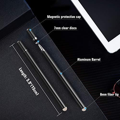 MoKo Touchstift Stylus, 2 Stück 2-in-1 Eingabestift Disc Touch Stift Pen mit 4 Ersatzspitzen für iPhone/iPad Pro/Mini/Air/Galaxy/Kindle/Android/Surface/Andere Touchscreen Geräte - Schwarz