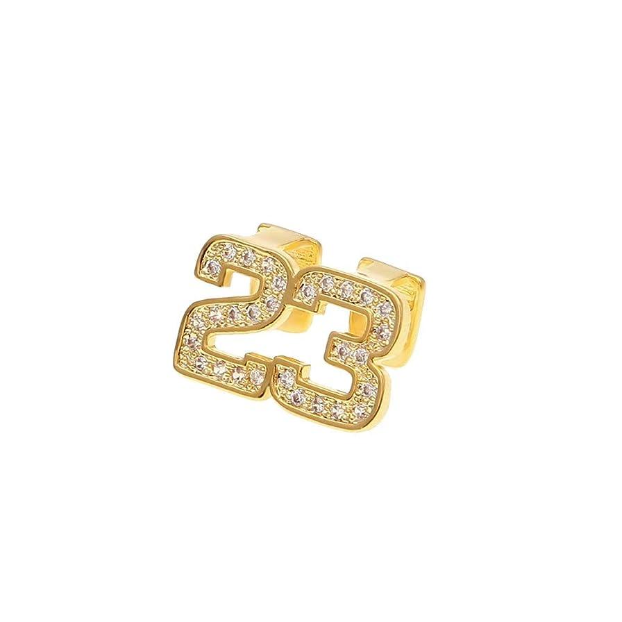 主張手入れ強調YHDD 欧米のヒップホップゴールドブレース男性と女性のトレンドジルコンゴールドメッキ二重歯23番号ヒップホップブレースジュエリー (色 : ゴールド)