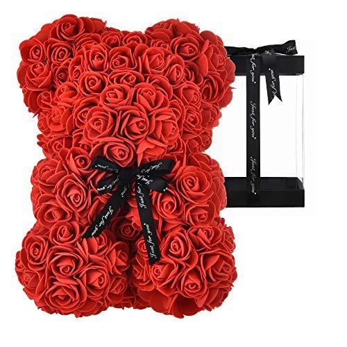 AZXU - Orsacchiotto composto da rose artificiali, per anniversari, regalo per mamma, confezione regalo trasparente inclusa - Rosso