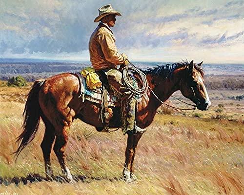 DIY 5D Diamante Pintura por Número Kit, American West Riding Cowboy,Bricolaje Diamond Painting Rhinestone Bordado de Punto de Cruz Artes Manualidades Lienzo Pared Decoración (40x60cm)