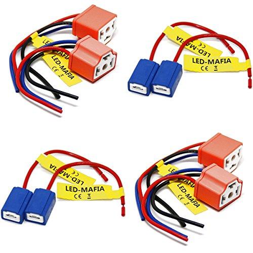 LED-Mafia 2 x ampoules culot – H1 H3 H4 Câble Douille mâle