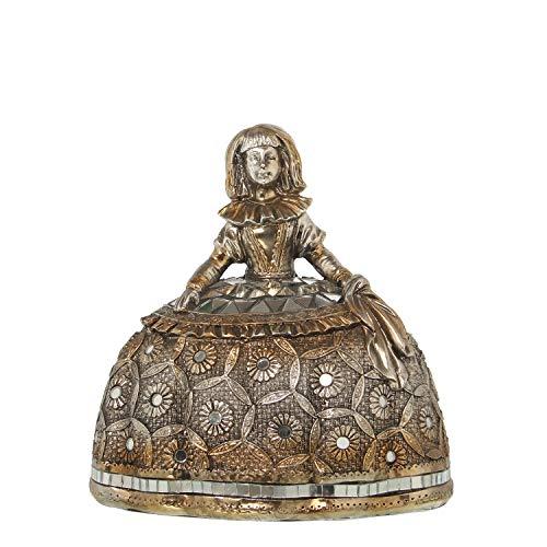 DRW Figura de una menina de Resina con Conchas Plateado 16,5x12x17cm