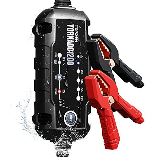 Autobatterie Ladegerät 1.2A 6V 12V Erhaltungsladegerät , TOPDON TORNADO1200 tragbares intelligentes Batterieladegerät und Wartungsdesulfator Vollautomatisch für Auto Motorrad PKW LKW ATV SUV Boot
