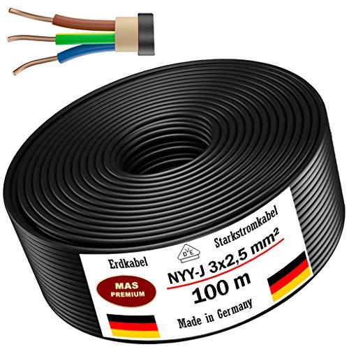 Cable subterráneo, 5, 10, 15, 20, 25, 30, 35, 40, 50, 75, 80 o 100 m cable de alimentación, NYY-J 3 x 2,5 mm², anillo de cable eléctrico para instalación exterior, tierra (100 m)