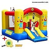 COSTWAY Aire de Jeux Gonflable de Motif de Clown Trampoline Château Gonflable avec Toboggan pour Enfant en Tissu Oxford Equipée de Filet Protecteur et Pompe 300 x 225 x 175