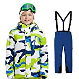 LPATTERN Traje de Esquí para Niños/Niñas Traje Conjunto de Nieve Impermeable para Deportes de Invierno, Blanco+Azul Oscuro, 130/6-7 años