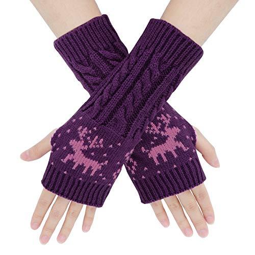 ECOMBOS Damen Fingerlose Handschuhe - Winter Armstulpen Handschuhe Damen Pulswärmer Strick Kurzer Gestrickte Halb Fingerlose Fäustlinge (Lila)