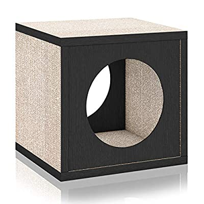 Way Basics Cat Scratcher Cube Scratching Post (Tool-Free Assembly and Uniquely Crafted from Sustainable Non Toxic zBoard Paperboard) Black