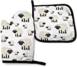 Fuyon Cartoon Sheeps Animals Wildlife Sheep Durable Heat Resistant Oven Mitts Microwave BBQ Oven Gloves 2-Piece Sets with Lanyard
