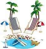 Ailiebhaus 12Stk Playa de Micro Paisaje minilieg estuhl sombrilla Palmera Decoración