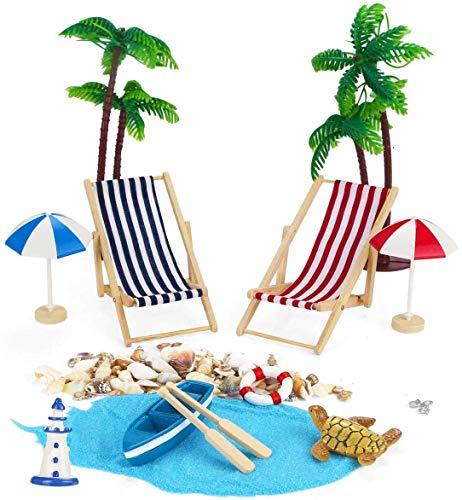 Adkwse Strand-Mikrolandschaft Mini Liegestuhl Sonnenschirm Palme Strand Deko DIY Geldgeschenk Reise Schildkröten Zubehör