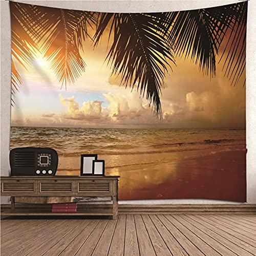 KnBoB Tapiz Pared Decorativo Sky Coconut Palm Beach 300x260 CM Tapiz Poliester Anti Arruga Decoracion Habitacion