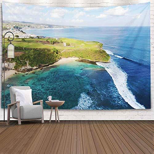 Tapiz de pared Deocor, vista aérea Pound Golf Course Player Sendero para disfrutar del juego Under Sun Field Bali Ariel Indonesia Dormitorio Sala de estar Decoración Tapiz de arte para colgar en la pa