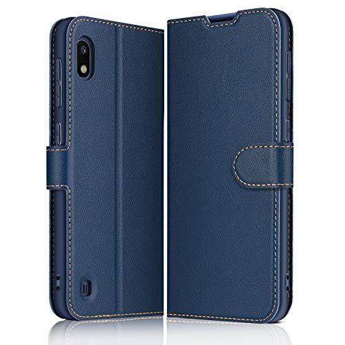 ELESNOW Hülle für Samsung Galaxy A10, Premium Leder Klappbar Wallet Schutzhülle Tasche Handyhülle mit [ Magnetisch, Kartenfach, Standfunktion ] für Samsung Galaxy A10 (Blau)
