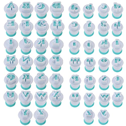 Suwimut 52 Pieces Fondant Letter Cutters, Plastic Alphabet Cake Mold Decorating Tools, Embosser Cutter Cookie Stamp Impress for DIY Sugar Cookies Chocolate Plunger