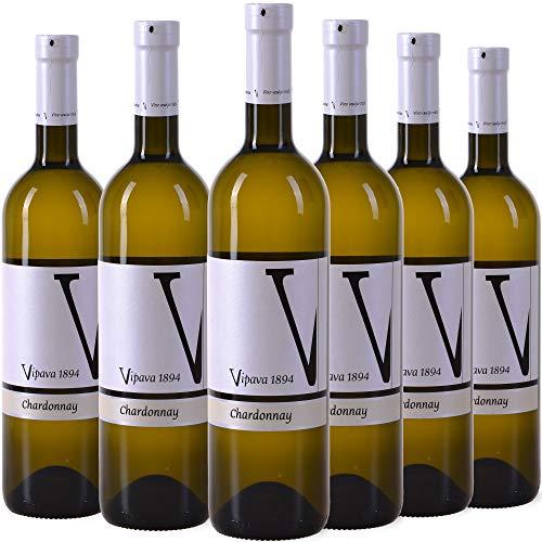 VIPAVA 1894 Weißwein CHARDONNAY 2020, (6 x 0,75 l), von Hand gelesener trockener Weißwein Produktname