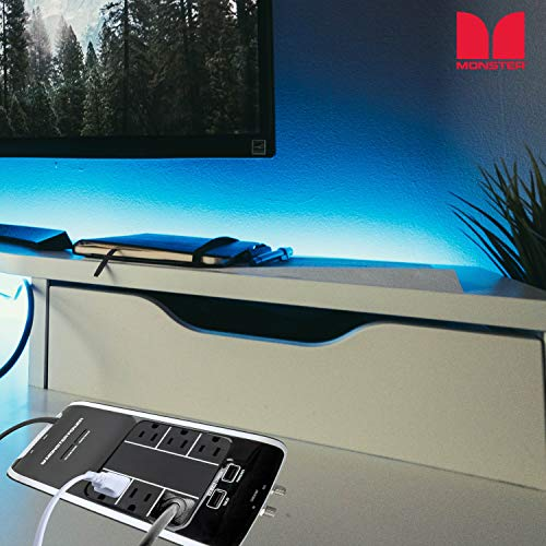 Monster Power Surge Protector 6-Outlet Power Strip, Platinum 600 HT