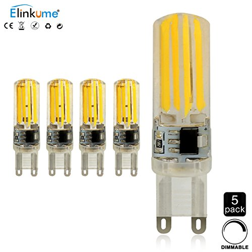 ELINKUME G9 LED Dimmable 5W 400 Lumen Blanc Chaud Ampoules 5Pcs LED Économie d'énergie AC 220V 2800-3200K Haute Watt Belles Ampoule