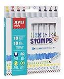 Apli kids 16807-10 feutres Stamps - feutres à double pointe: feutre et tampon - 10 couleurs