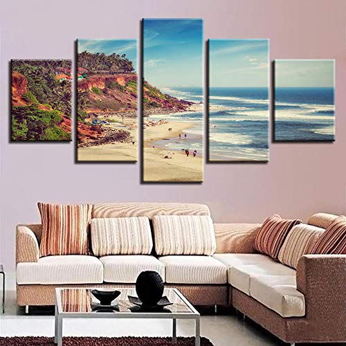 Chuixiaoxiao1 Modern Canvas Prints 5 Piece Wall Art Coast Home Decoration Painting Printed on Canvas for Bedroom Living Room Bathroom Office Home Decoration