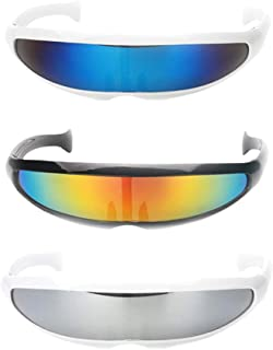 Lovoski Pack of 3 Futuristic Cyclops Shield Sunglasses for Cosplay - Mirrored Lens Visor Narrow Cyclops Novelty Party Shield
