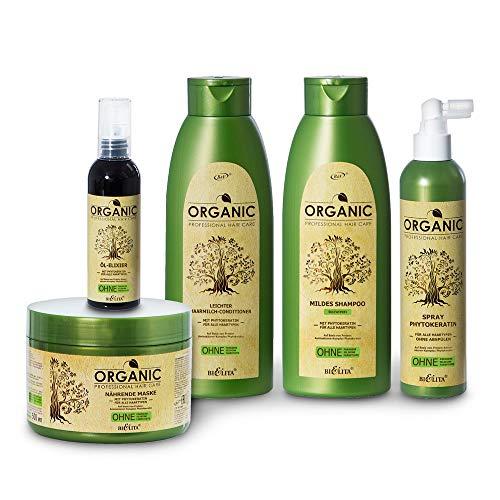 Belita ORGANIC Haarpflege-Set mit Phytokeratin 1850ml: 1x Shampoo 500ml, 1x Haaröl 100ml, 1x Pflegespray 250ml, 1x Haarmilch-Conditioner 500ml, 1x Haarmaske 500ml