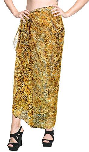 LA LEELA Avvolgere Resortwear Coprire Sarong Donne Costume da Bagno Pareo Beachwear di Bagno dello Swimwear Tuta Gialla