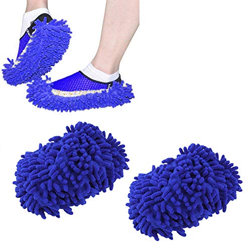 Home Mop Sweep Floor Cleaning Duster Cloth Housework Soft Slipper SY (1 Pair/Blue)